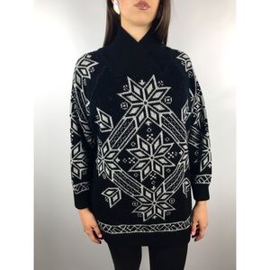 Vintage wool blend metallic geometric sweater